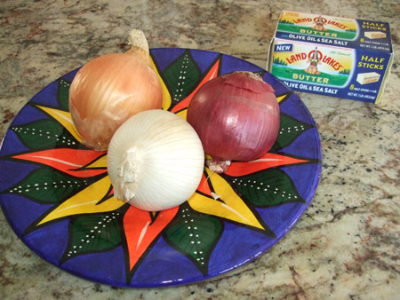 onions, plate, red and white