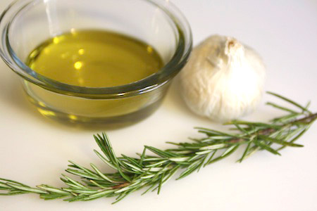 rosemary, garlic, oil