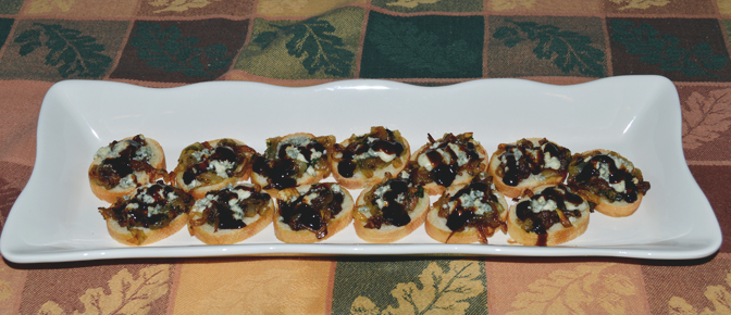 Crostini on Plate to Serve