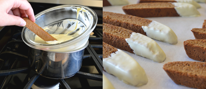 Dip Biscotti in White Chocolate