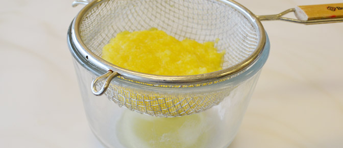 Draining Pineapple with Strainer